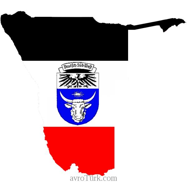 """Alman sömürgesi Alman sömürgesi """"Alman Güneybatı Afrikası"""" (Namibya) bayraklı haritası"""